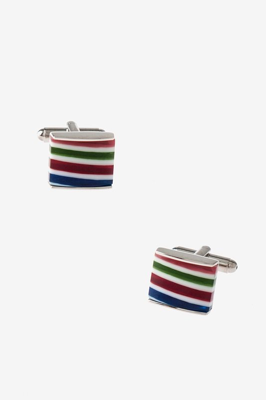 Square Candy Stripe Cufflinks