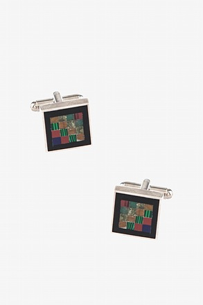 Wood Mosaic Multicolor Cufflinks