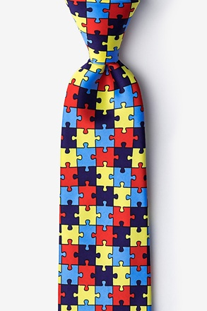 _Autism Awareness Puzzle Multicolor Extra Long Tie_