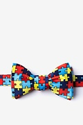 Multicolor Microfiber Autism Awareness Puzzle Self-Tie Bow Tie