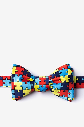 _Autism Awareness Puzzle Multicolor Self-Tie Bow Tie_
