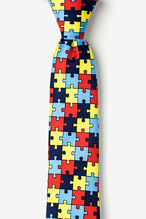_Autism Awareness Puzzle Multicolor Tie For Boys_