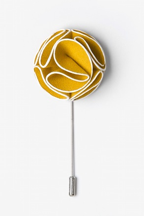 _Mustard Piped Flower Lapel Pin_