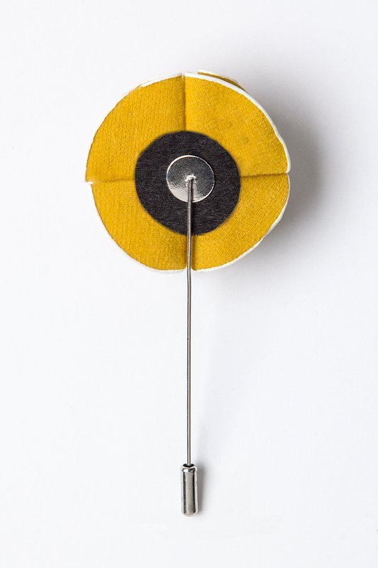 Mustard Piped Flower Lapel Pin Photo (1)