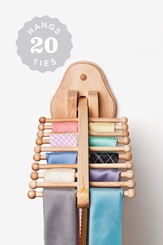 Natural Wooden Wall Mounted Flip Down Tie Rack