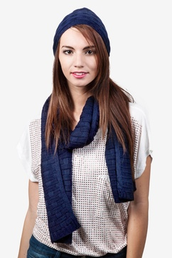 Basketweave Navy Blue Scarf And Hat Set
