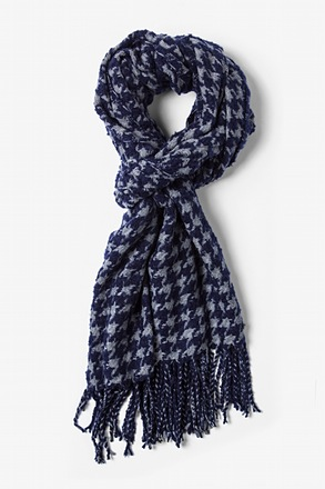 Navy Blue Berlin Houndstooth Scarf