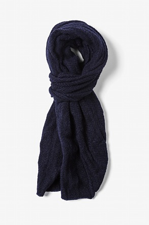 Navy Blue Seattle Striped Knit Scarf