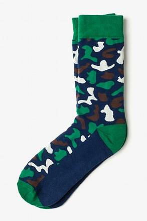 Abstract camouflage Navy Blue Sock
