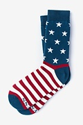 Navy Blue Carded Cotton All-American Women's Sock