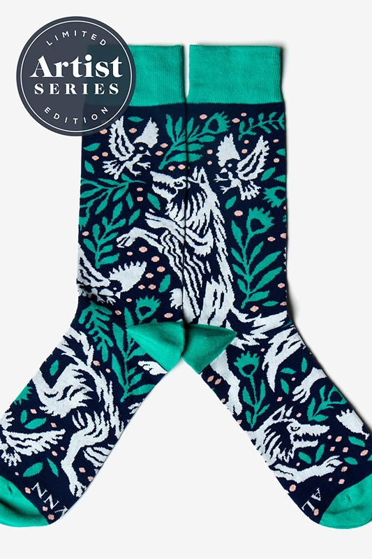 Alynn® X Joshua Noom Prowling Wolf Navy Blue Sock Photo (0)
