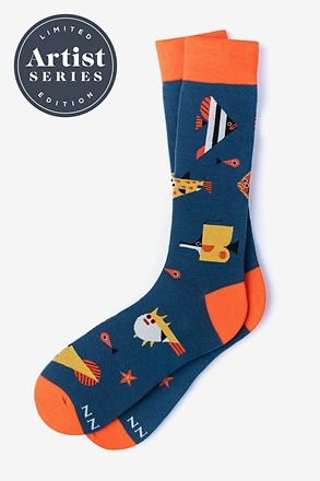 Alynn® X Owen Davey Fish Navy Blue Sock