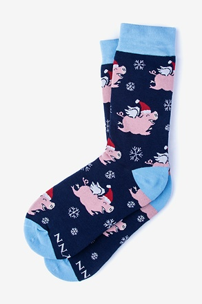 _Alynn Christmas Navy Blue Women's Sock_