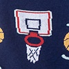 Navy Blue Carded Cotton Basketball Nothing But Net Sock