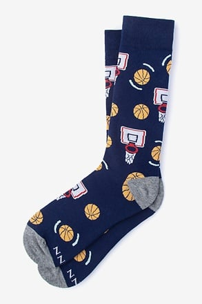 _Basketball Nothing But Net Navy Blue Sock_