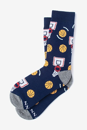 _Basketball Nothing But Net Navy Blue Women's Sock_
