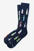Navy Blue Carded Cotton Beer Me Sock