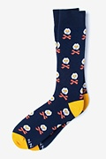 Navy Blue Carded Cotton Breakfast Ahoy! Sock