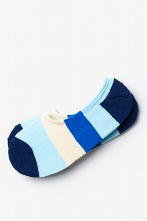 _Burbank Color Block Navy Blue No-Show Sock_