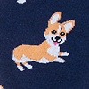 Navy Blue Carded Cotton Corgi Gang Sock