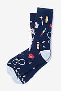 Navy Blue Carded Cotton Doctor Medical Women's Sock