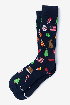 _Every Holiday Navy Blue Sock_
