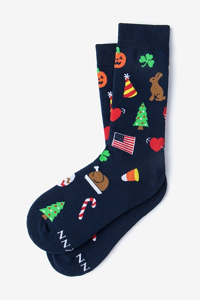Image of Navy Blue Carded Cotton Every Occasion Sock Women's Sock