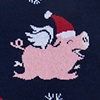 Navy Blue Carded Cotton Flying Pig Christmas Sock