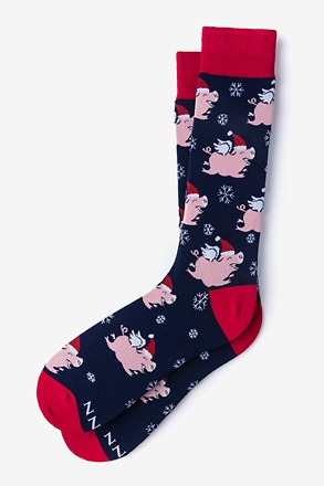 Flying Pig Christmas Navy Blue Sock