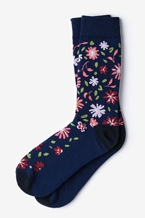 Fresh Floral Navy Blue Sock