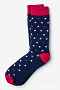 Navy Blue Carded Cotton Home of the Brave Sock