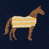 Navy Blue Carded Cotton Horsin' Around
