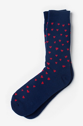 _Heart Print Navy Blue Sock_