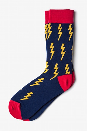 _Lightning Bolt Navy Blue Sock_