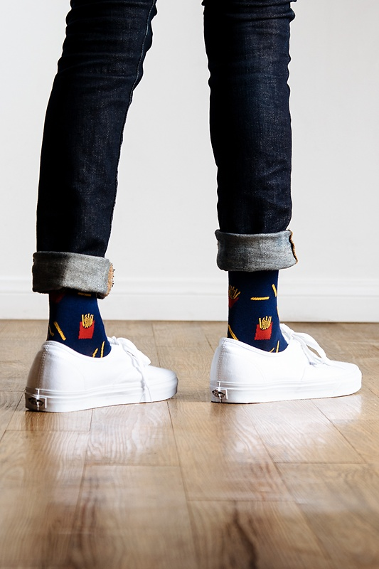 Lookin' So Fry Navy Blue Sock