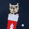 Navy Blue Carded Cotton Meowy Christmas