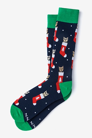 Meowy Christmas Navy Blue Sock