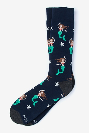 _Mermaids are Real Navy Blue Sock_