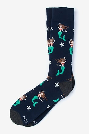 Mermaids are Real Navy Blue Sock