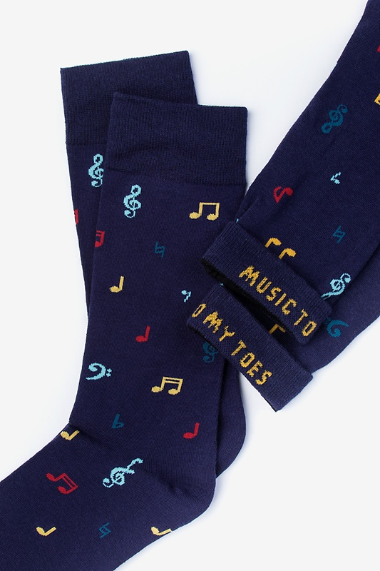 Music to My Toes Navy Blue Sock