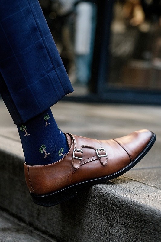 Palm Trees Navy Blue Sock