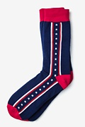 Navy Blue Carded Cotton Patriot Stripe Sock
