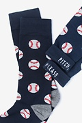 Pitch, Please Baseball Navy Blue Sock