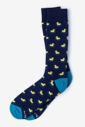 Navy Blue Carded Cotton Rubber Ducky Sock