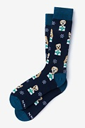Navy Blue Carded Cotton Santa's Lil' Yelpers Sock