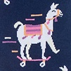 Navy Blue Carded Cotton Skateboarding Llama Women's Sock