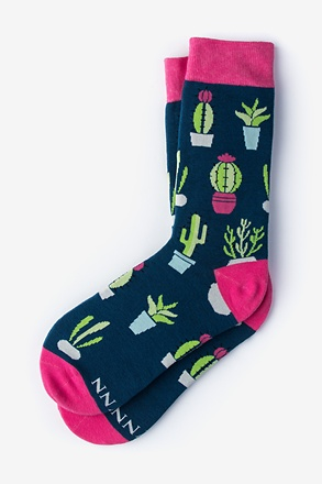 _Succulent Navy Blue Women's Sock_