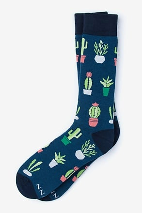 Succulent Navy Blue Sock
