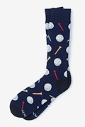 Navy Blue Carded Cotton Talk Birdie To Me Sock