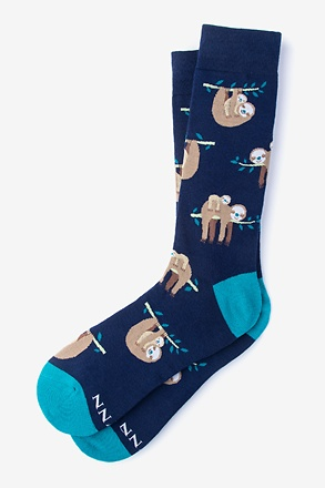 _That Sloth Life Navy Blue Sock_